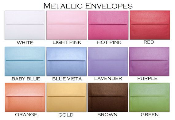 Metallic Envelopes A7 by SweetPartyPrints on Etsy, $5.40