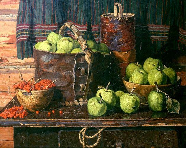 Авторские галереи - Стожаров Владимир Федорович / Натюрморт с яблоками. / Живопись [Натюрморт]