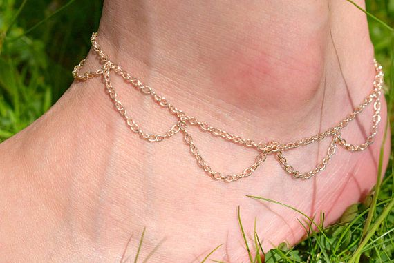 Rose Gold Chain Anklet  Belly Dancer Jewelry  Boho Ankle
