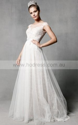 A-line Scoop Natural Cap Sleeves Floor-length Wedding Dresses was0081--Hodress