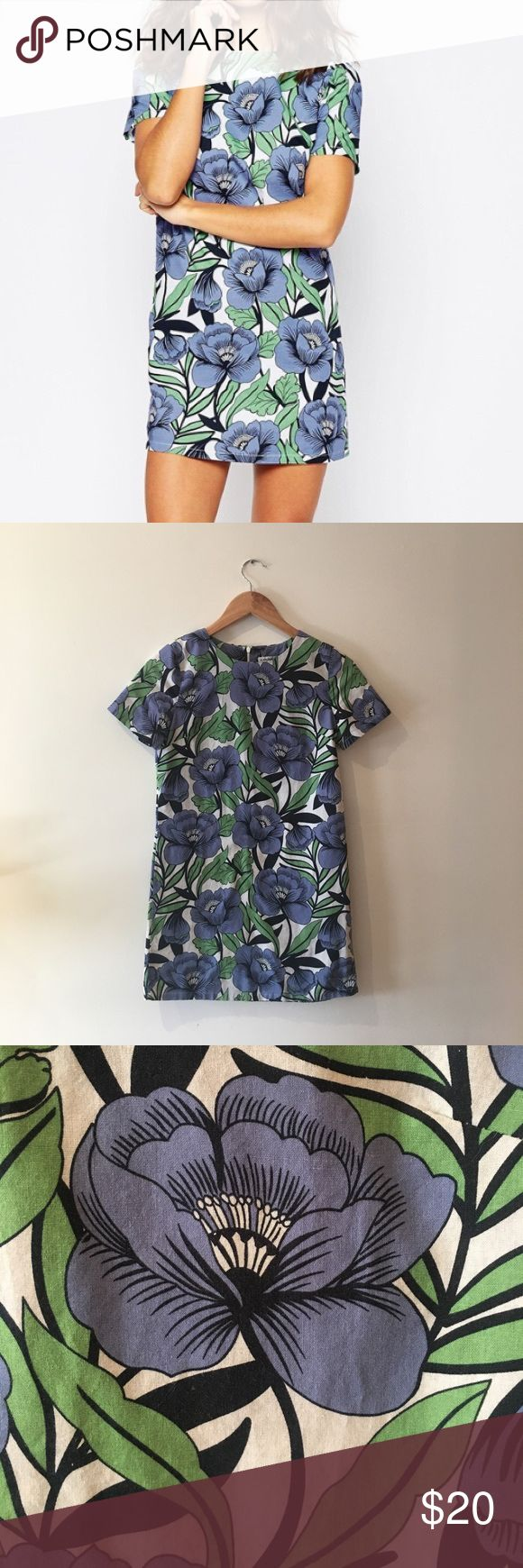 ASOS Glamorous Petite printed shift dress Size 4 Petite ASOS floral shift dress. Blue, green and white floral pattern. Only worn a few times, in great condition. ASOS Petite Dresses Mini