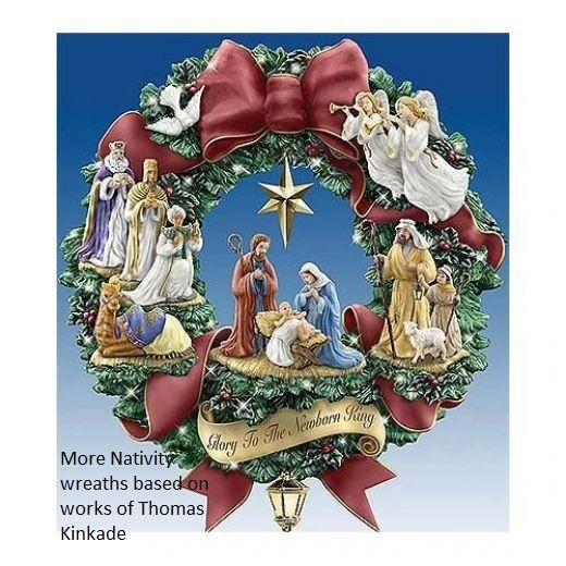 """Nativity Wreath: """"Glory to the Newborn King"""" - wreath based upon the art and design of Thomas Kinkade, via hubpages"""