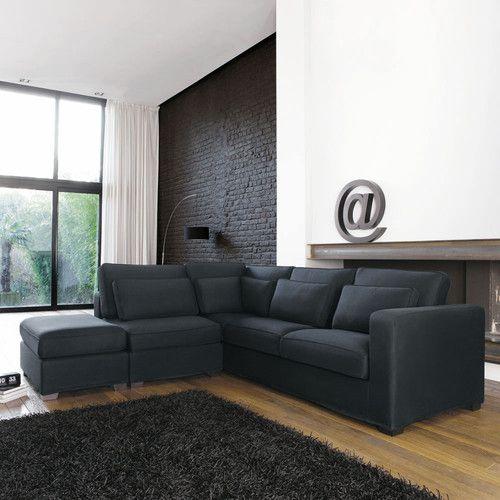 Canapé d'angle 5 places en coton gris ardoise