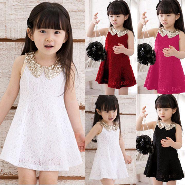 2014 New Fashion Kids Summer Vestido Chiffon coreano Vest Casual Girl Dress Lace mangas princesa bebé Roupa # 3 SV000883