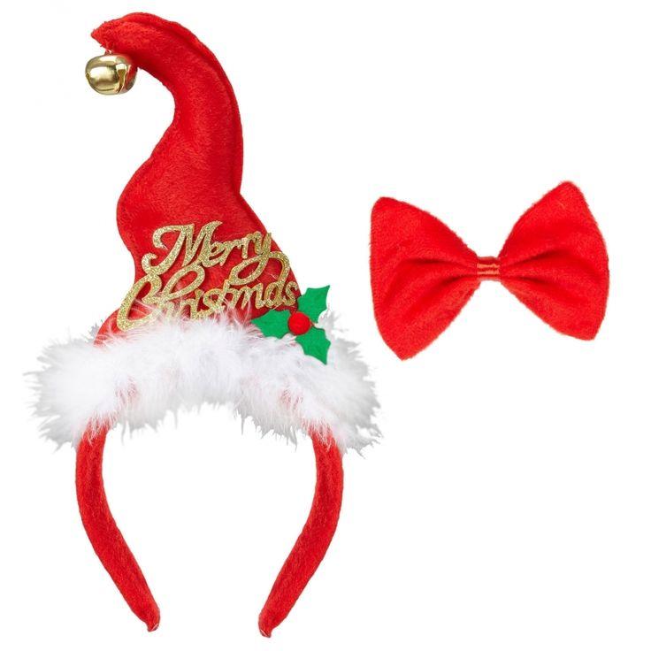 Deze kerst verkleedset bevat een diadeem met aangehecht mini kerstmutsje en een vlinderstrikje met elastiek. Zowel het mutsje als het strikje zijn gemaakt van polyester en zijn geschikt voor volwassenen.