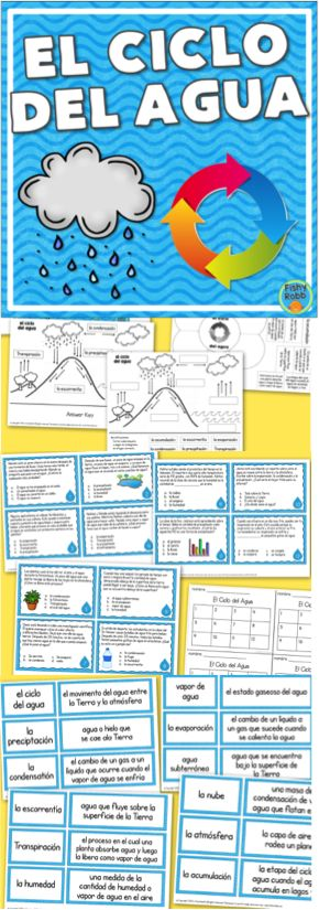 El Ciclo del Agua (water cycle) activities in Spanish - vocabulary, task cards, foldable, and diagram
