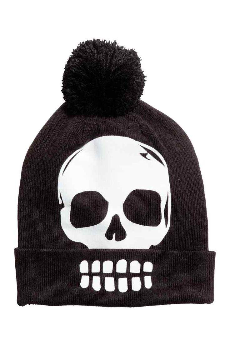 Hat with a yarn pompom - Black/Skull - Kids | H&M GB 1
