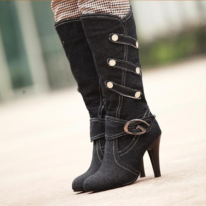 Denim Medium knee half boots winter women lady fashion sexy short boots thin high heel shoes Buckle riding boots big size 32 43-in Boots from Shoes on Aliexpress.com | Alibaba Group