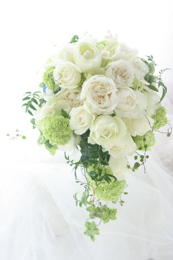 White and green cascade bouquet