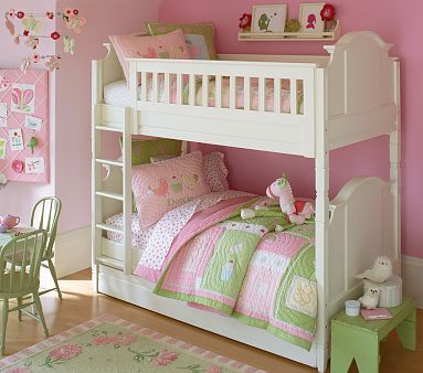 Sweet bunk beds for girls bedroom separate into two twin for Children bedroom designs girls