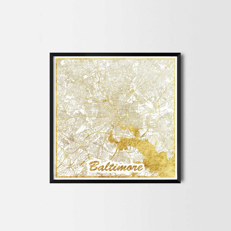 Baltimore map posters are high quality map art prints of a great city. Perfect for the house and office or as a gift for a friend. Interior gift travel gold