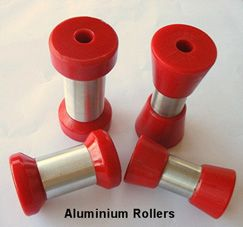 Our self centering rollers come in different sizes and colours, and are made from polyurethane, a very durable and reliable material especially for boat trailer rollers. Buy Online now!
