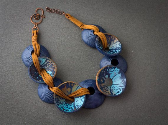 blue necklace  circle gift for her