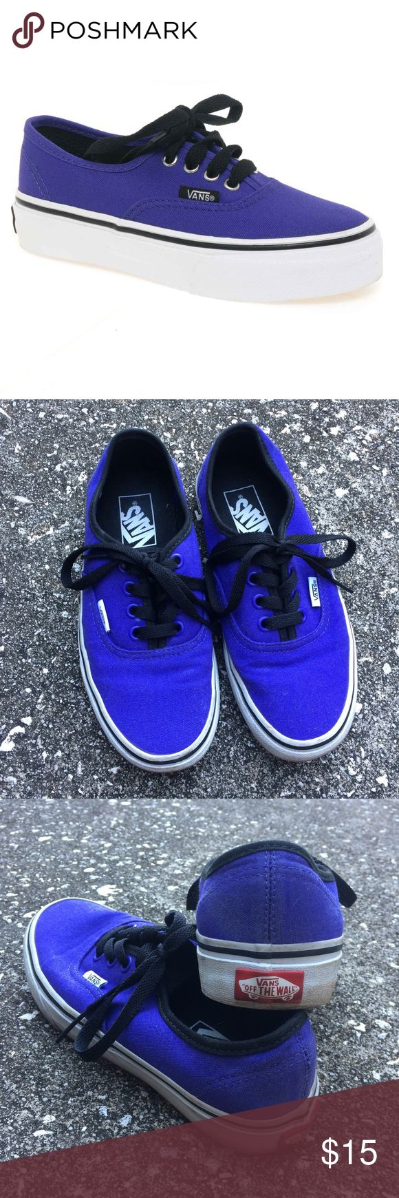 Purple Vans Authentic Vans. Purple with black laces and tongue. Cover photo shows most accurate color. Selling the actual shoes pictured. The white foxing of the shoes could use some cleaning up but these are in excellent condition and worn very few times!   {{ skate boarding sk8 off the wall 1966 old skool era lo pro california custom royal sneakers sneakerhead }}   ⬇️ Please comment with any questions! ⬇️  💬 Negotiate via offer feature 💬  ❤️✨ BUNDLE to SAVE ✨❤️ Vans Shoes Sneakers