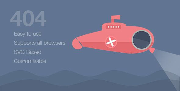 Submarine - SVG Animated 404 Page - 404 Pages Specialty Pages