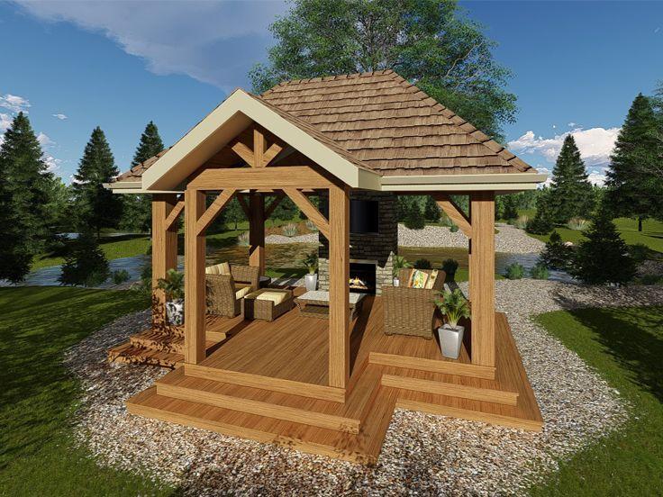 050x 0008 Gazebo Plan With Fireplace For Outdoor Entertaining Gazebo Plans Gazebo Patio Plans