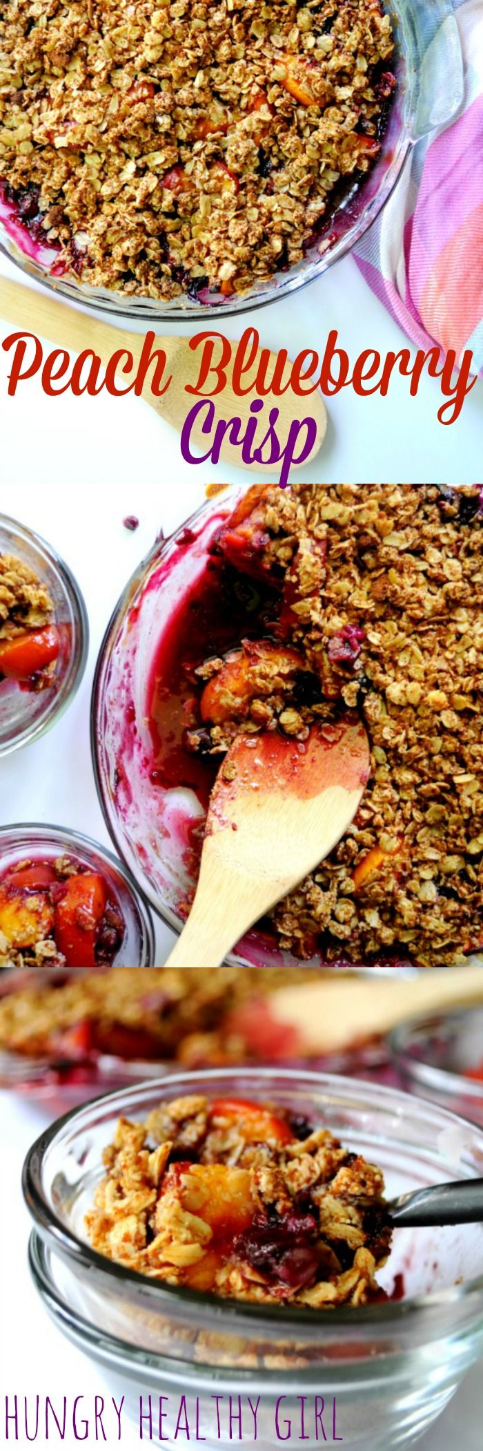 Easy Peach Blueberry Crisp- delicious summer dessert made with all-natural ingredients. A family favorite! #vegan #glutenfree