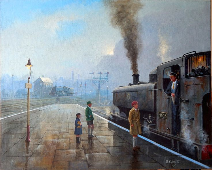 Misty morning departure. 1950's steam nostalgia.