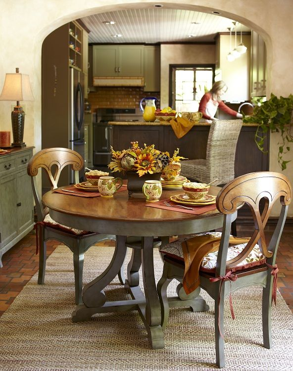Marchella Sage Round Dining Table Fall Amp Harvest Decor