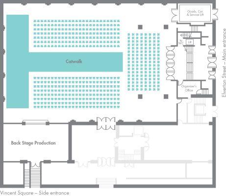 Fashion catwalk floor plan  -  FASHION CATWALK Capacity: 400 Main hall: 36 m x 22 m  Gross space: 875 sq m