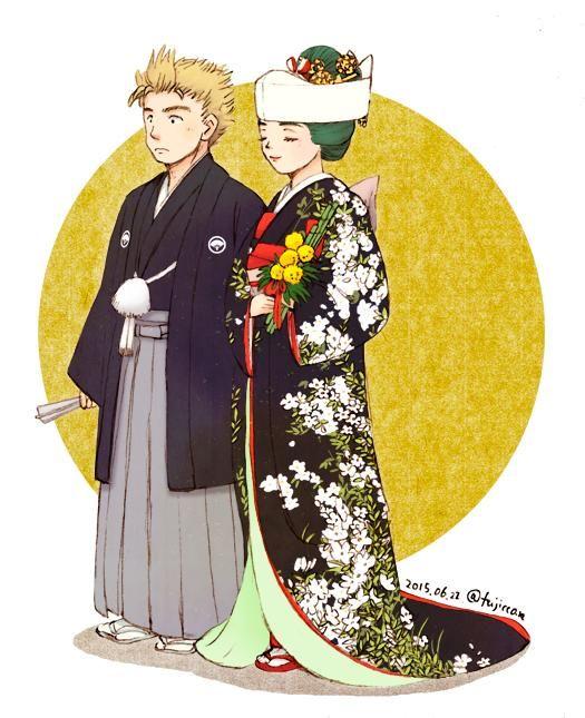 キルアラで和装結婚式が見てみたくて、暇を見てちまちま進めてたのがやっと形になったー!おめでとうキルアラ…だいすき!
