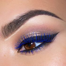 Blue mascara eye makeup