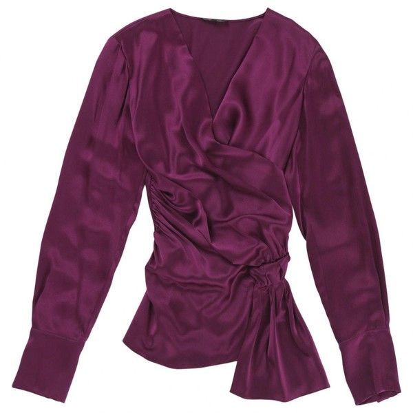 Pre-owned Sophie Theallet Purple Silk Knitwear ($181) ❤ liked on Polyvore featuring tops, purple, women clothing knitwear, purple top, purple silk top, silk top, cross front top and sophie theallet