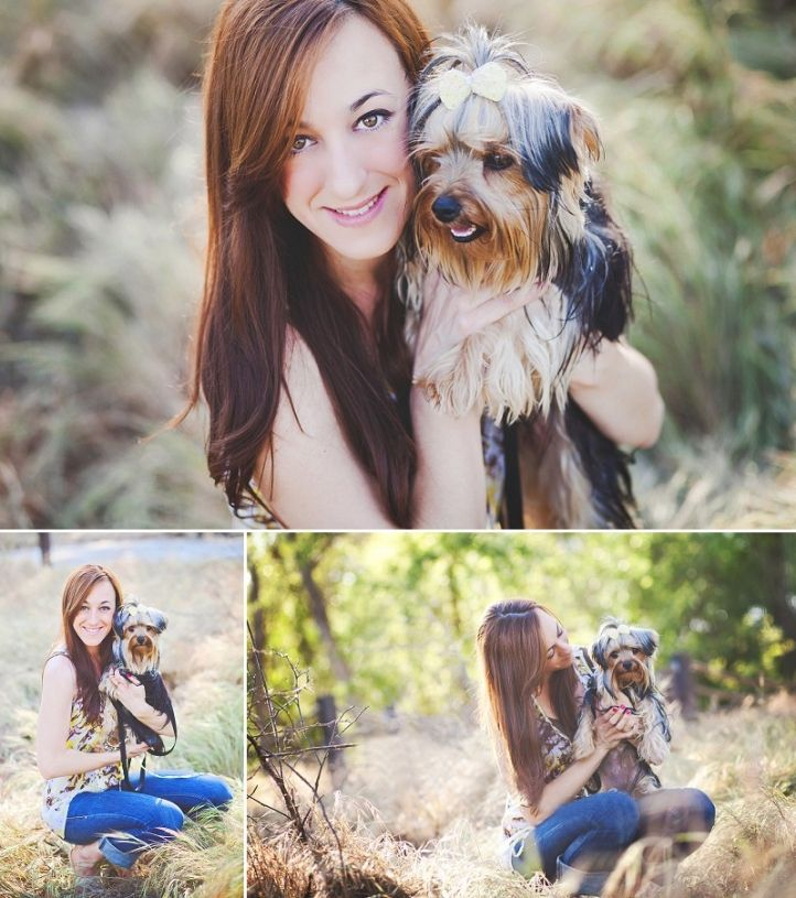 Erica Houck Photography session portrait senior shoot photoshoot puppy dog owner with dog yorkie field