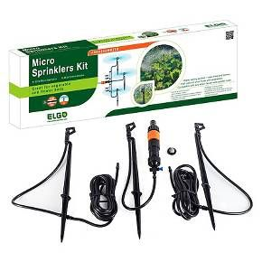 Keep your garden area lush and hydrated with this Micro Sprinkler Kit from Elgo. This efficient micro-irrigation system is both corrosion and leak-resistant. The easy-to-assemble system can attach to standard hoses or faucet outlets. Move to wherever water is needed. The interchangeable nozzles serve up uniform watering with minimal waste. Choose between a 180° or 360° watering range. You'll love the versatility of this Elgo system that comes complete with three micro sp...