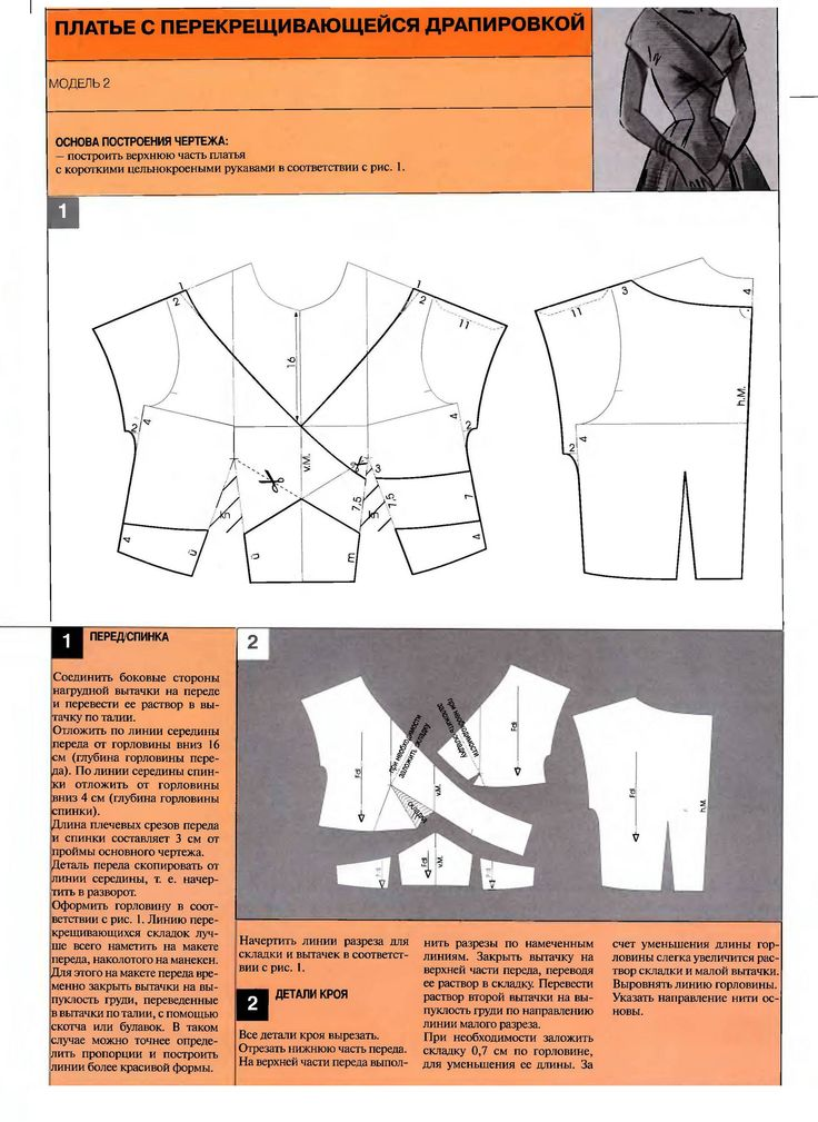 illustration and instructions (in Russian) showing how to create the pattern for this bodice