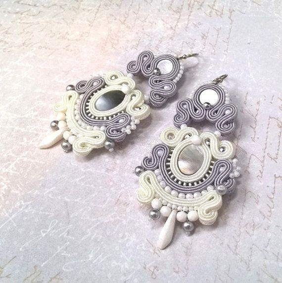 "Soutache earrings ""Romantic Winter"", bridal earrings, white earrings, wedding jewelry, soutache jewelry"