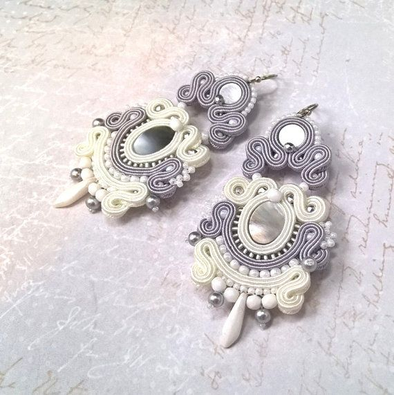 "Soutache earrings ""Romantic Winter"", bridal earrings, white earrings, wedding jewelry, soutache jewelry"