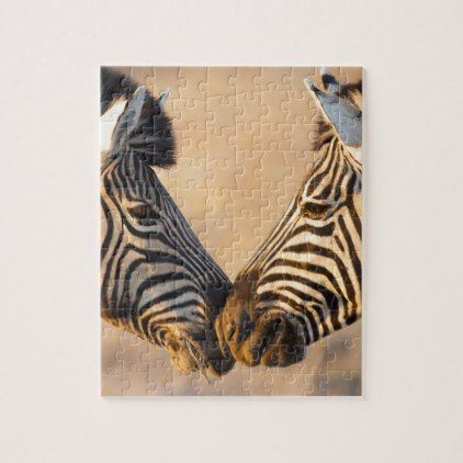 African Zebras Kissing Jigsaw Puzzle - home gifts ideas decor special unique custom individual customized individualized