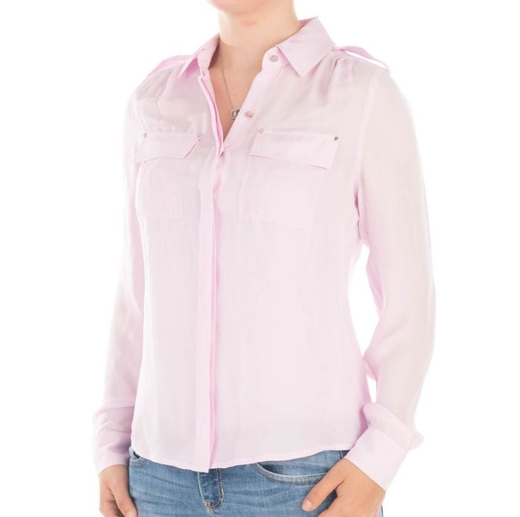 White house black market womens light pink button down for Pastel pink button down shirt