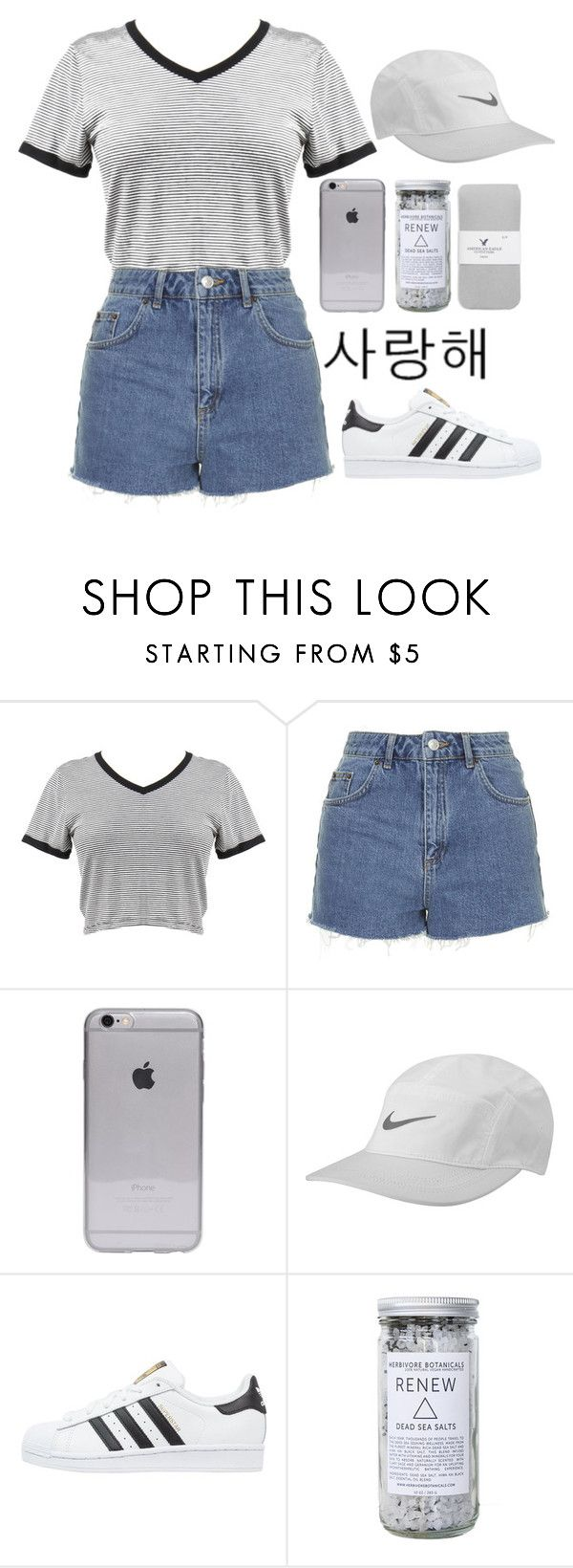 """; twenty something ;"" by serenitychills ❤ liked on Polyvore featuring Topshop, NIKE, adidas Originals, Herbivore Botanicals, American Eagle Outfitters, women's clothing, women's fashion, women, female and woman"
