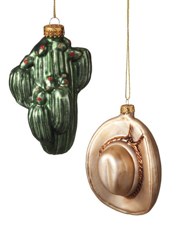 Blown Glass Cactus & Cowboy Hat Christmas Ornaments 269220 | Buffalo Trader Online