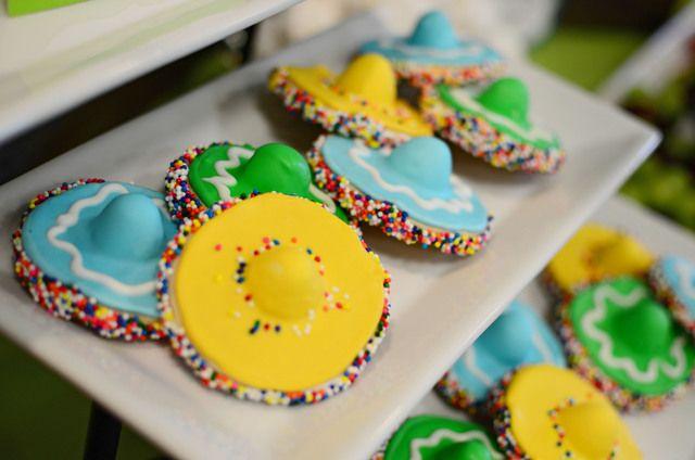 Sombrero cookies at a Fiesta #fiesta #cookies