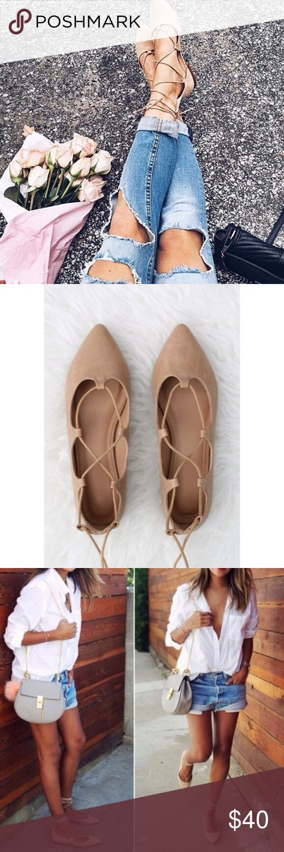 💕Lace Up Ballet Flats💕 Brand new in box - Camel pointed toe, Laceup ballet flats, faux leather, size 7. No Trades, Price Firm. Shoes Flats & Loafers