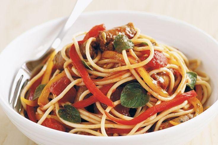 Tomato, sausage and capsicum pasta