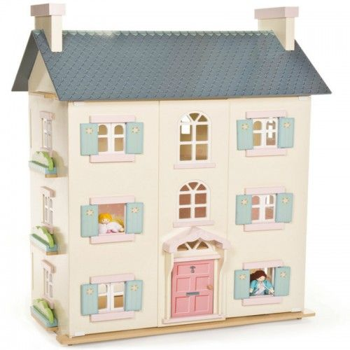 The creme de la creme of doll houses is this grand 92cm high 4 storey doll house with floral motif. 	Each room is decorated differently to define room space.  It feature numerous window styles including functioning shutters and back windows to allow light to shine through.  It also includes chimney stachs and staircases with bannisters that function as room dividers. 	Dolls and furniture are sold separately.