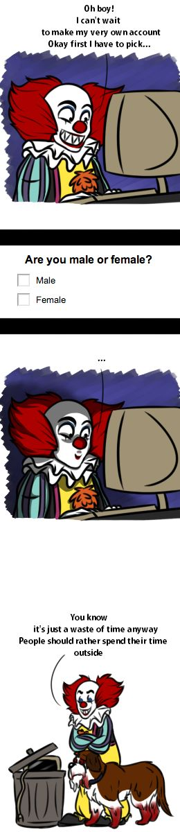 Pennywise: Whoever just read this comic, turn off your machine and go outside instead. I got a ballon for ya ~ Pennywise and Cujo © Stephen King