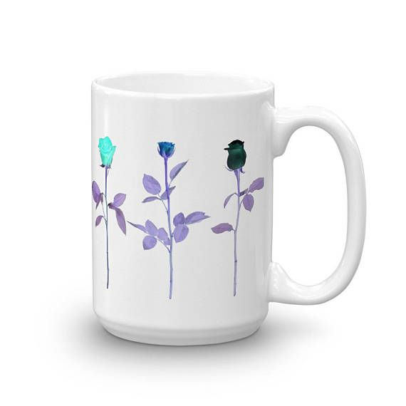 Amazing UV   Ultraviolet Roses Floral Theme Bright Flashy Design Ceramic Coffee Mug