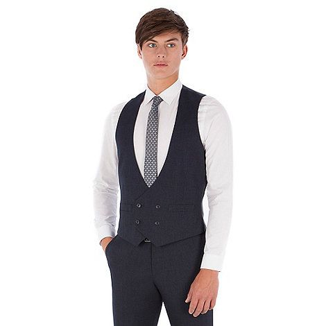 Red Herring Blue textured puppytooth double breasted slim fit suit waistcoat | Debenhams
