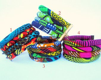 African wax fabric cuff bracelet colorful by nad205 on Etsy                                                                                                                                                                                 More