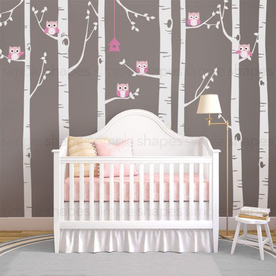 Birch Tree Wall Decal Birch Tree With Owls Wall by SimpleShapes