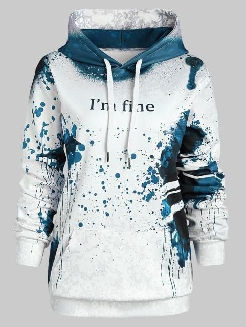 Plus Size Halloween Letter Print Theme Hoodie Women Hoodies Fall Winter Hooded Long Sleeves Sweatshirts Women Outerwear Blue 4XL