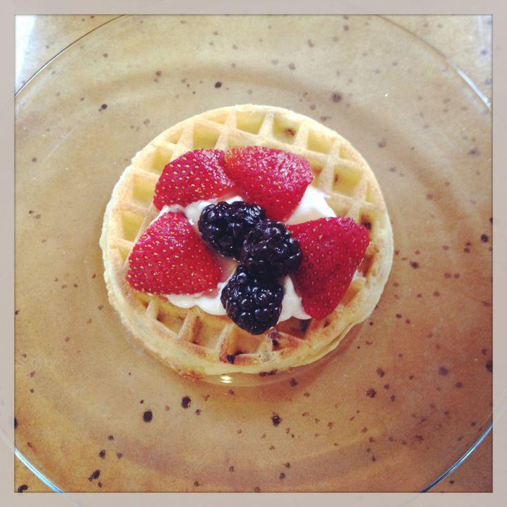 Healthy and yummy waffles with strawberries Greek yogurt honey and ...