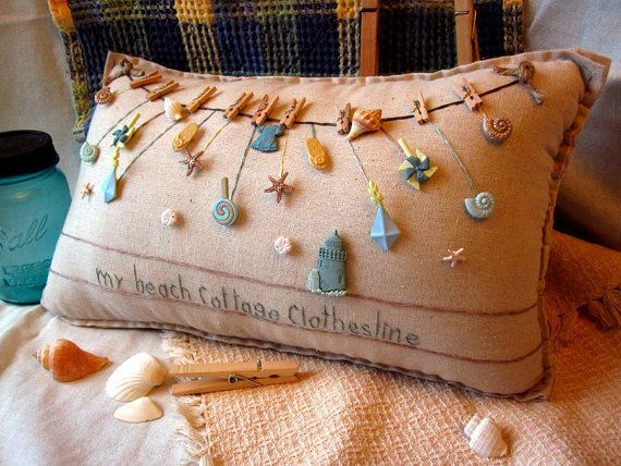 My Beach Cottage Clothesline Pillow Cottage Style by PillowCottage