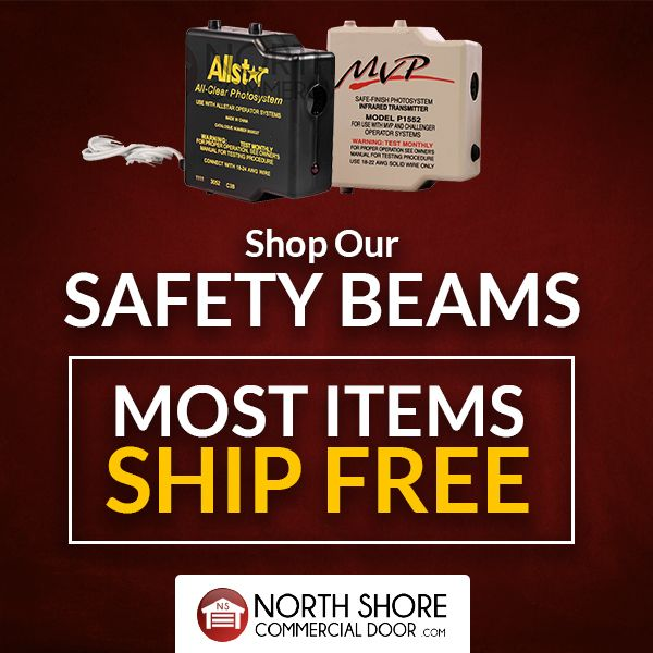 Check out our discounts on all safety beams! Shop popular brands such as Genie, LiftMaster, Stanley, Chamberlain, Hormann and many more.  Shop now: NorthShoreCommercialDoor.com/safety-beams-by-part.html