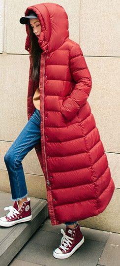 (PQAZML) Tags: long down coat puffy nylon hood fur woman beauty sexy parkasite moncler winter cold jacket fetish